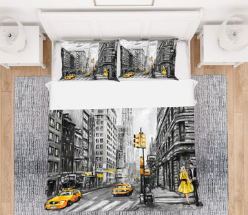 3D Taxi Street 039 Bed Pillowcases Quilt