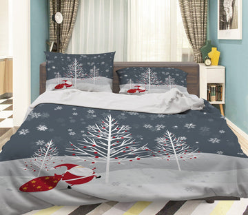 3D Christmas Old Man Running 41 Bed Pillowcases Quilt