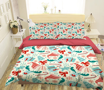 3D Christmas Snowflake Hat 9 Bed Pillowcases Quilt