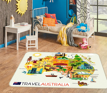 3D Color House 263 World Map Non Slip Rug Mat