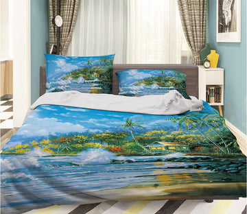 3D Oil Painting Wave 092 Bed Pillowcases Quilt
