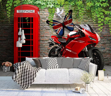 3D Red Motorcycle 1159 Wall Murals