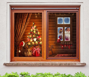 3D Wooden House Santa 42167 Christmas Window Film Print Sticker Cling Stained Glass Xmas