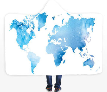3D Light Blue Map 587 Hooded Blanket