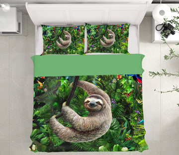 3D Forest Sloth 2053 Adrian Chesterman Bedding Bed Pillowcases Quilt
