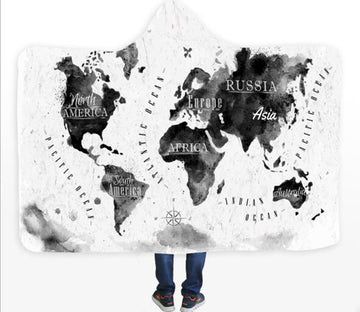 3D Black Ink Map 581 Hooded Blanket