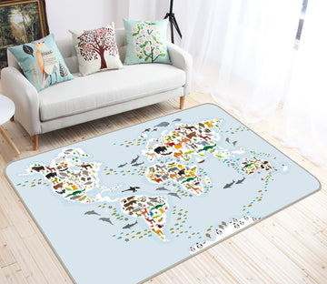 3D Colored Spots 298 World Map Non Slip Rug Mat