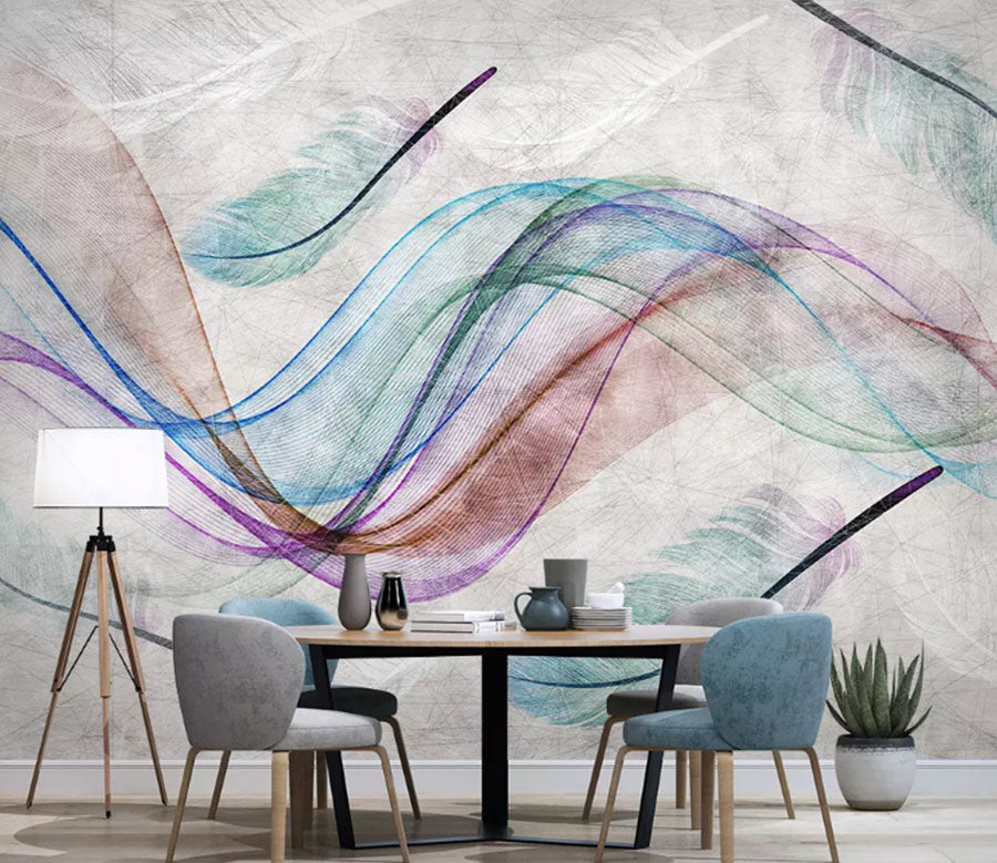 3D Color Wave 2132 Wall Murals