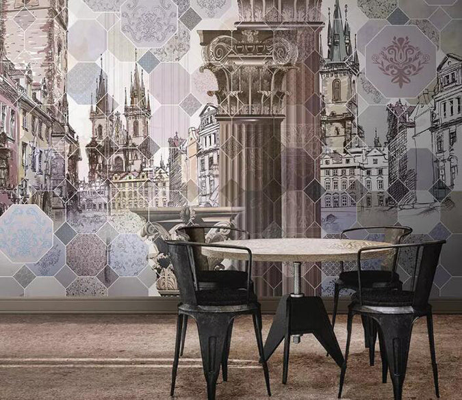 3D High Building 1257 Wall Murals