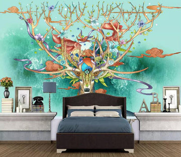 3D Color Deer 1174 Wall Murals