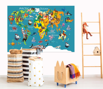 3D Abstract Elephant 247 World Map Wall Sticker