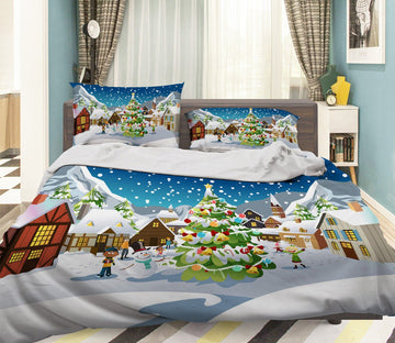 3D Christmas Rural Snow 26 Bed Pillowcases Quilt