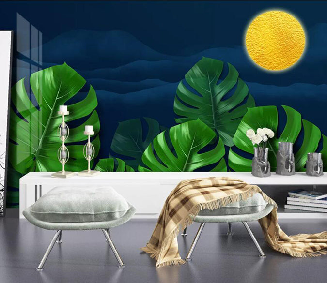 3D Green Leaf Moon 1908 Wall Murals