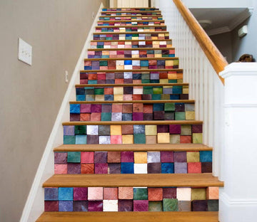 3D Rainbow Block 53732 Marble Tile Texture Stair Risers Wallpaper AJ Wallpaper