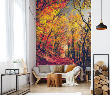 3D Yellow Leaf Forest 58106 Wall Murals