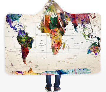 3D Color Map 611 Hooded Blanket