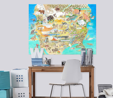 3D Animal Map 024 Michael Sewell Wall Sticker