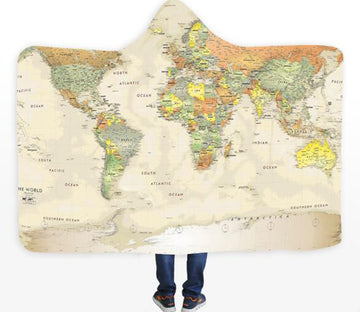 3D Green World Map 326 Hooded Blanket
