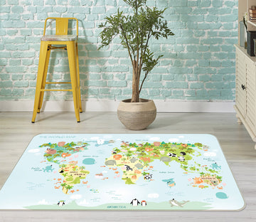 3D Living Land 306 World Map Non Slip Rug Mat