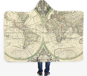 3D Round World Map 331 Hooded Blanket