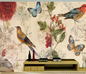 3D Bird Butterfly WC153 Wall Murals