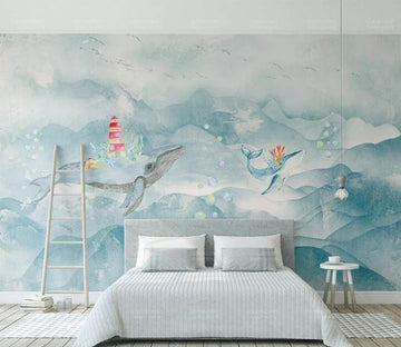 3D Flower Dolphin WC205 Wall Murals