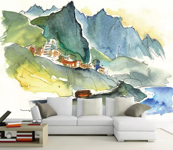 3D Mountain House 1149 Wall Murals