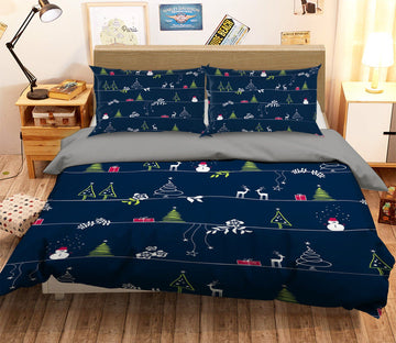 3D Christmas Illustration Snowman 32 Bed Pillowcases Quilt