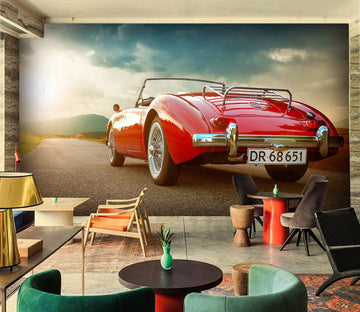 3D asphalt Red Car 901 Vehicle Wall Murals Wallpaper AJ Wallpaper 2