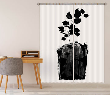 3D Black Leaves Growing 1106 Boris Draschoff Curtain Curtains Drapes
