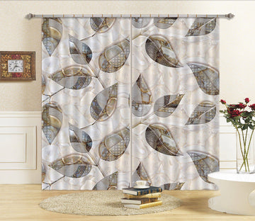 3D Leaf Shape Pattern 52 Curtains Drapes