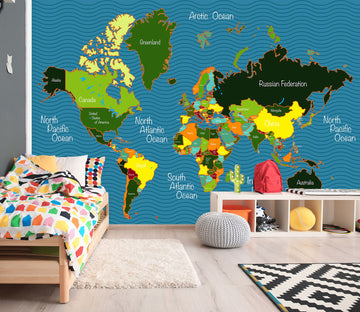 3D Color Painting 2144 World Map Wall Murals