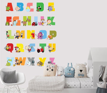 3D Cartoon Alphabet 52 Wall Stickes