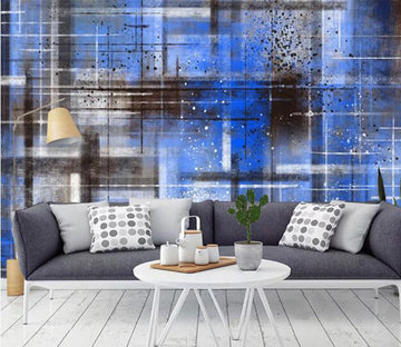 3D Blue Pattern WC1073 Wall Murals