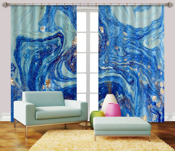 3D Straotic Sand Blue 51 Curtains Drapes