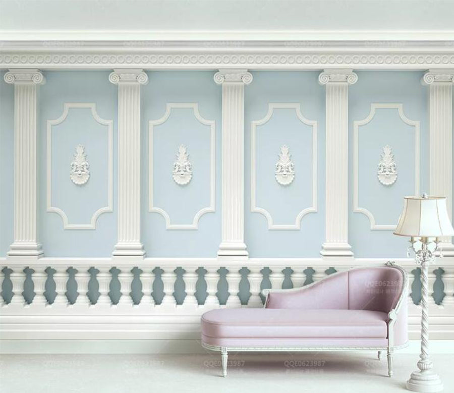 3D Simple Blue WC145 Wall Murals
