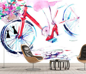 3D Painted Bicycle 130 Wall Murals