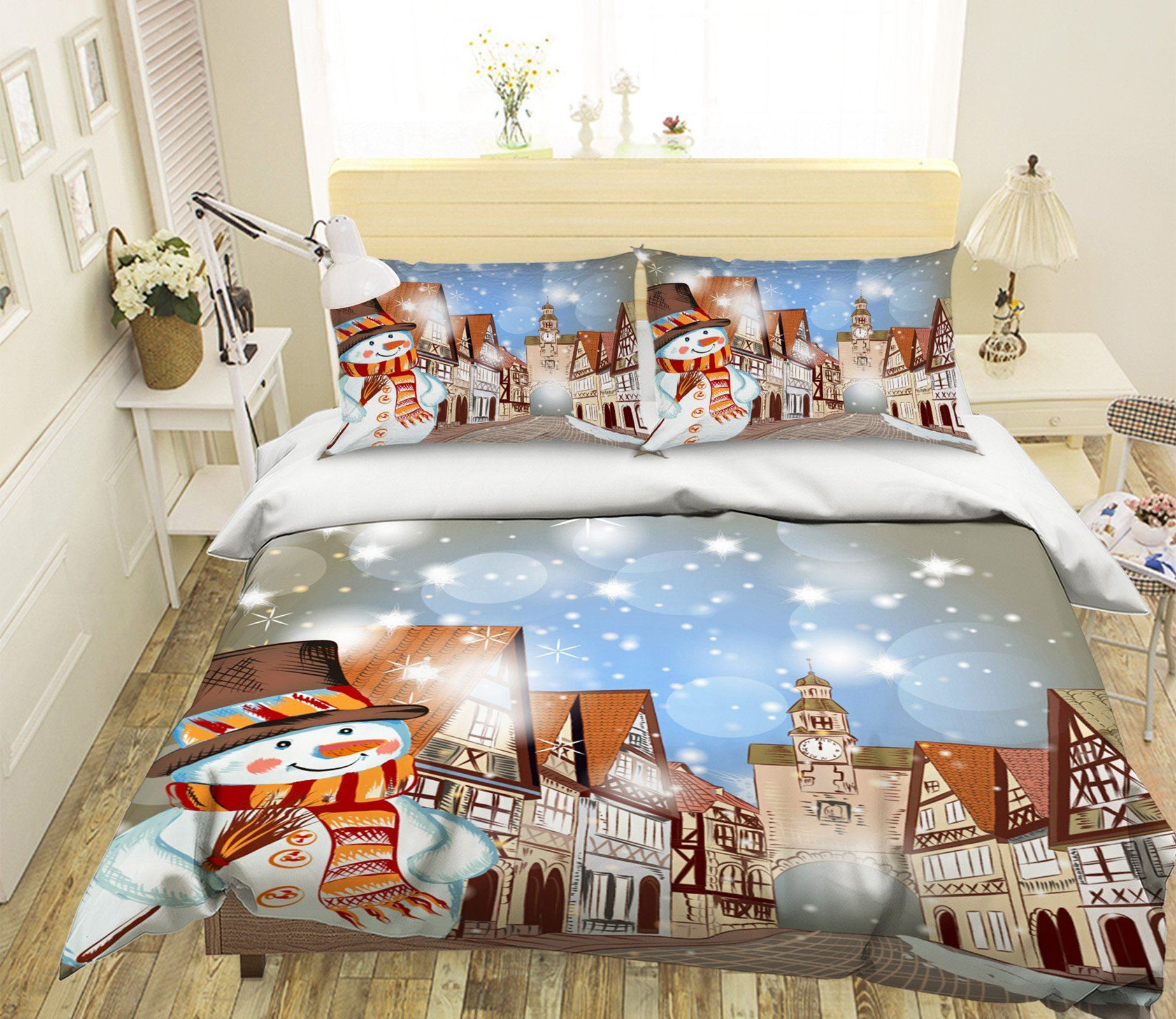 3D Christmas Clock Tower 29 Bed Pillowcases Quilt