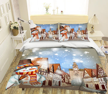 3D Christmas Clock Tower 29 Bed Pillowcases Quilt Quiet Covers AJ Creativity Home