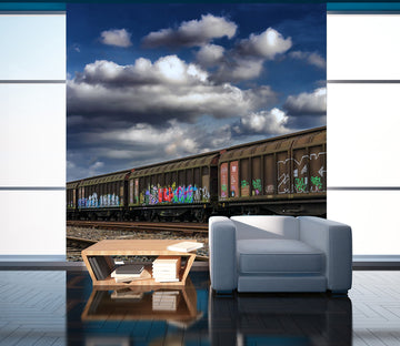 3D Train Clouds 429 Vehicle Wall Murals