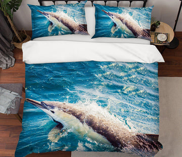 3D Jump Dolphin 21039 Bed Pillowcases Quilt