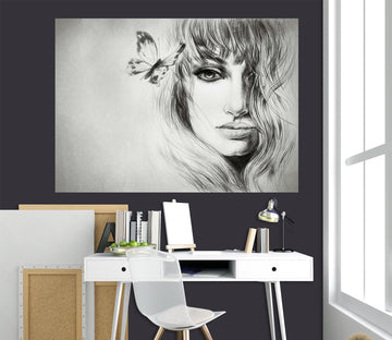 3D Sketch Woman 1007 Wall Sticker