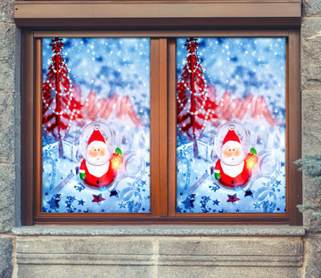 3D Cartoon Santa 42175 Christmas Window Film Print Sticker Cling Stained Glass Xmas