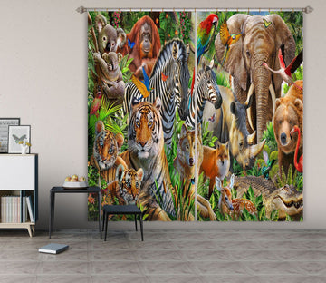 3D Animal World 065 Adrian Chesterman Curtain Curtains Drapes Curtains AJ Creativity Home