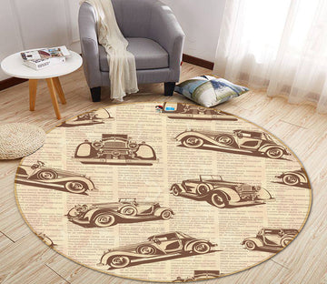 3D Racing Car 64145 Round Non Slip Rug Mat