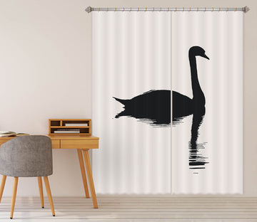 3D Swan Pattern 1127 Boris Draschoff Curtain Curtains Drapes