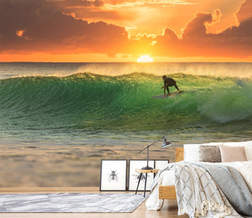 3D Surf Sunset 745 Wallpaper AJ Wallpaper 2