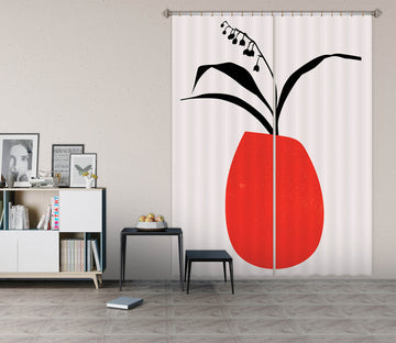 3D Red Vase 1137 Boris Draschoff Curtain Curtains Drapes