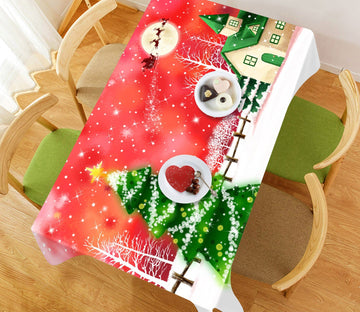3D Moon Snow Christmas 3 Tablecloths Tablecloths AJ Creativity Home