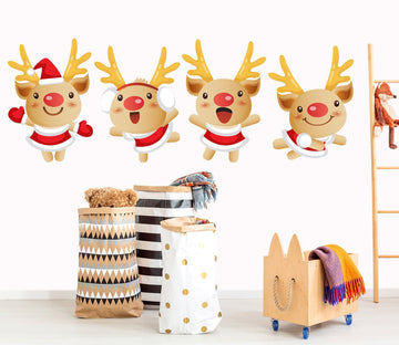 3D Cute Red Nose Deer 45 Wall Stickers Wallpaper AJ Wallpaper